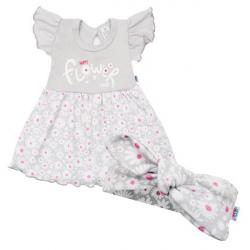 Dojčenské letné bavlnené šatičky s čelenkou New Baby Happy Flower šede