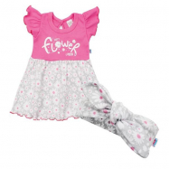 Dojčenské letné bavlnené šatičky s čelenkou New Baby Happy Flower tmavo ružove