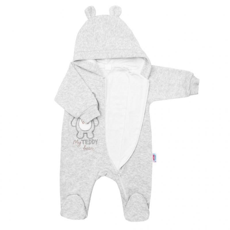 Kojenecký semiškový overal s kapucí New Baby Sweetheart šedý