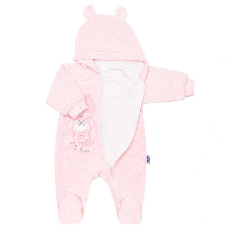 Dojčenský semiškový overal s kapucňou New Baby Sweetheart ružový