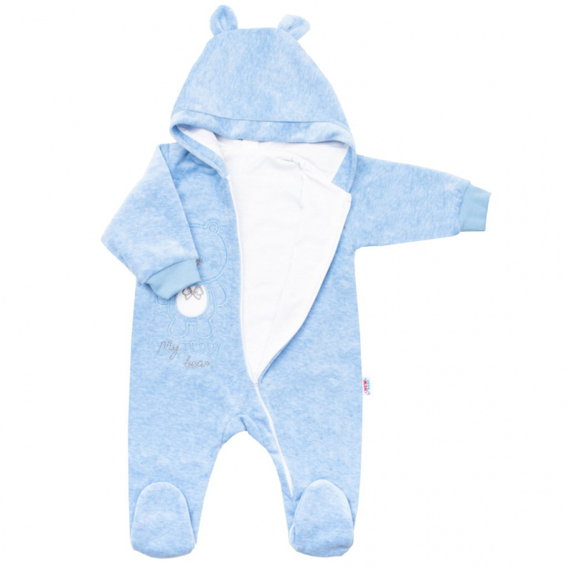Dojčenský semiškový overal s kapucňou New Baby Sweetheart modrý