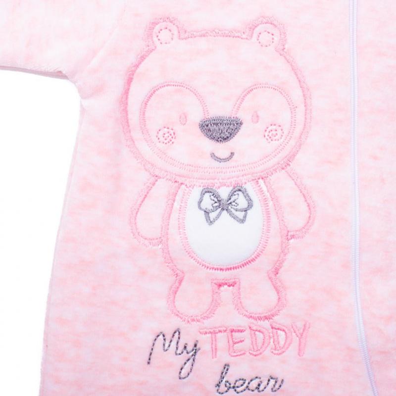 Kojenecký semiškový overal s kapucí New Baby Sweetheart růžový