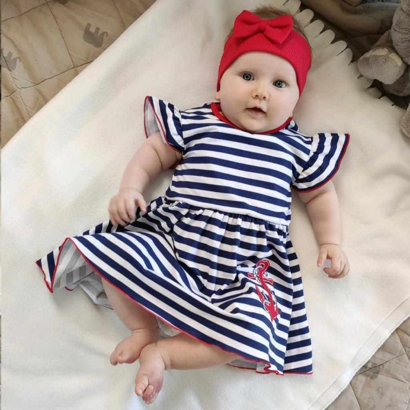 Kojenecké bavlněné šatičky s čelenkou New Baby Marine