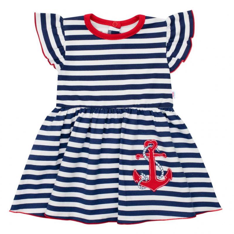 Dojčenské bavlnené šatičky s čelenkou New Baby Marine
