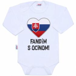 Body s potiskem New Baby Fandím s ocinom bílé