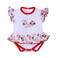 Dojčenské body s krátkym rukávom a volánikom New Baby Beruška