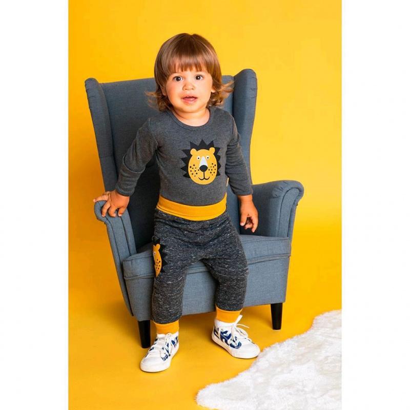 Dojčenské bavlnené tepláčky Nicol Prince Lion melírované šedej