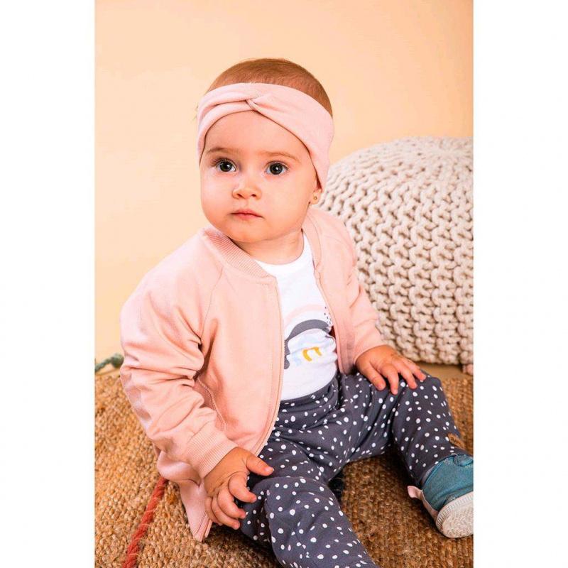 Dojčenské bavlnené tepláčky Nicol Rainbow sivé