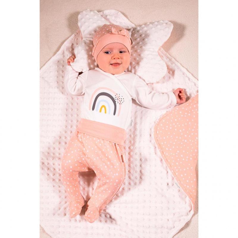 Kojenecká bavlněná čepička Nicol Rainbow růžová