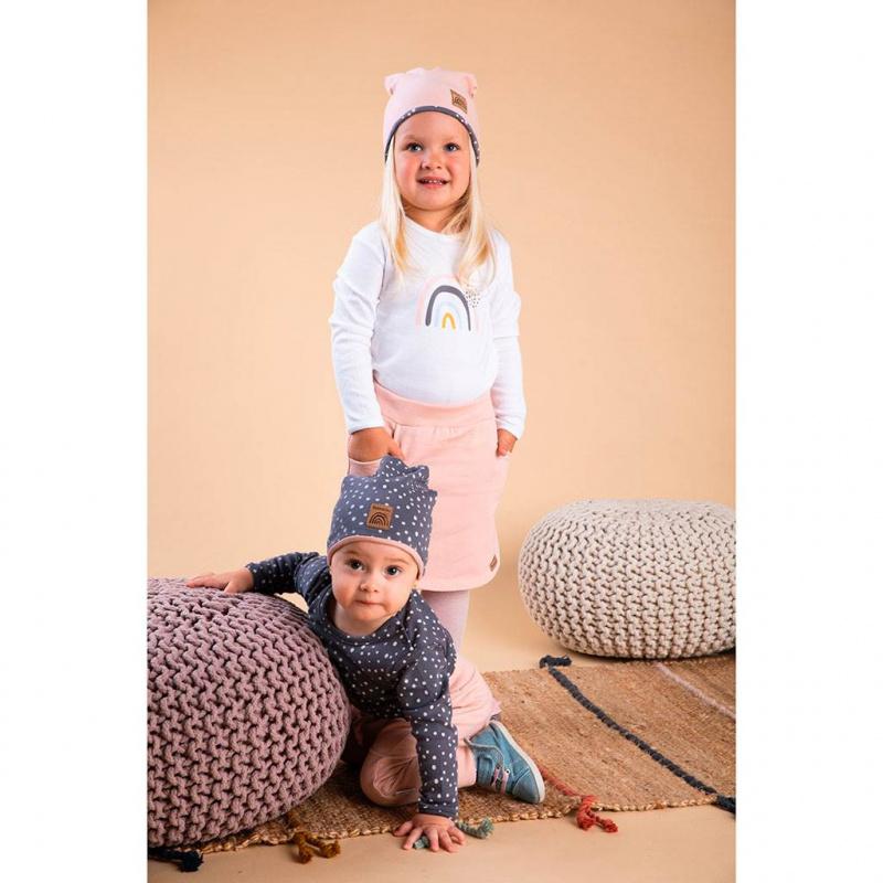 Dojčenská bavlnená čiapočka Nicol Rainbow šedá