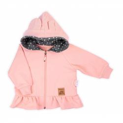 Kojenecká mikinka s kapucí Nicol Rainbow růžová