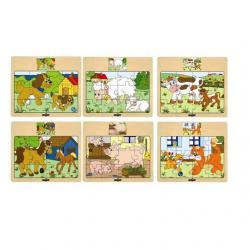 Drevené puzzle na doske Mašinka - zvieratá s mláďatami