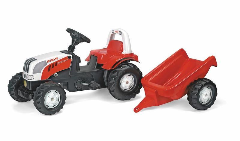Šliapací traktor Rolly Kid Steyer s vlečkou-červený