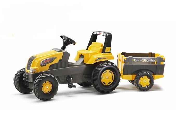 Šlapací traktor Rolly Junior Farm s vlečkou - žlutý