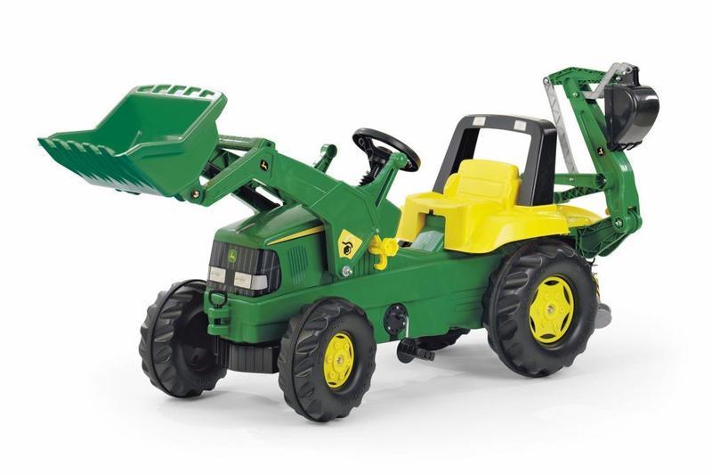 Šlapací traktor Rolly Junior John Deere s bagrem a nakladačem