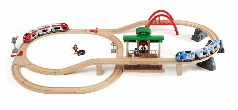 Vláčkodráha velká s výhybkami, mostem, nástupištěm, 42 dílů