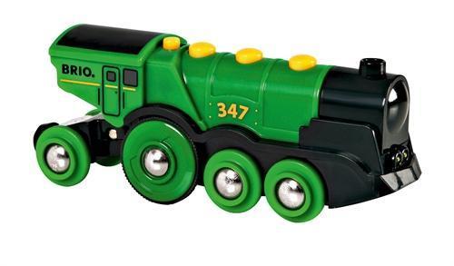 Mohutná elektrická zelená lokomotíva so svetlami