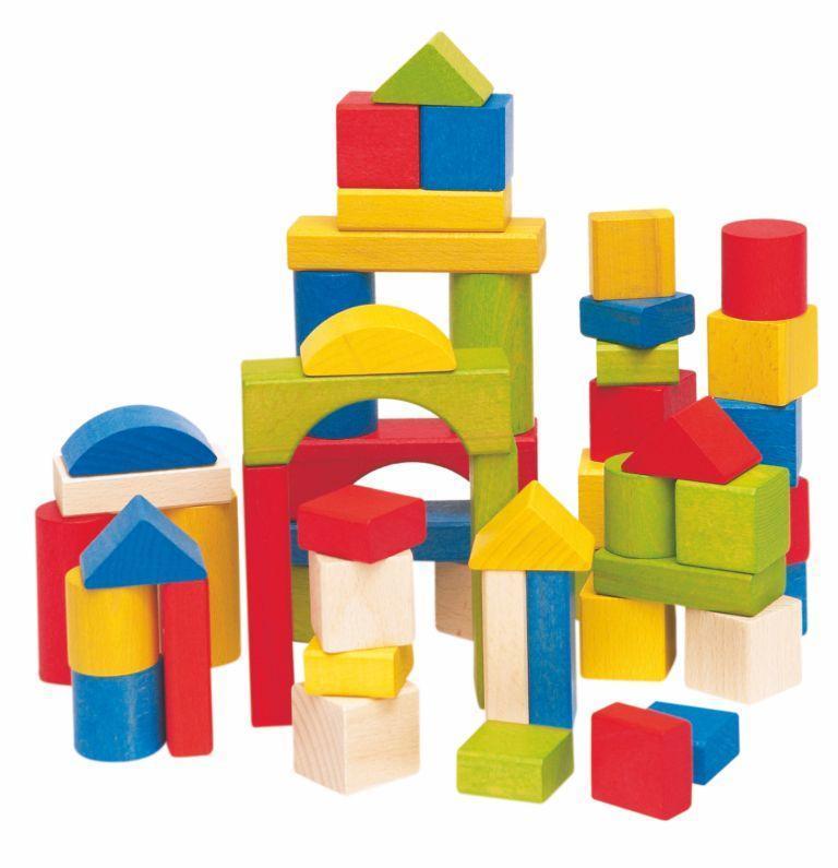 Stavebnica kocky farebné 50 dielov