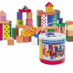 Stavebnice kostky barevné s potiskem 50 dílů