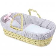Petitcollin Proutěná taška pro panenku fialová s kvězdičkami