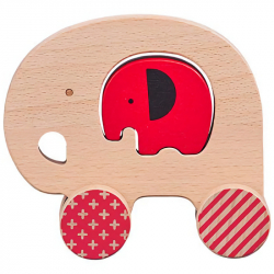 Petit Collage Slon a sloník na kolieskach