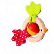 Dřevěné hračky pro nejmenší - Chrastítko ptáček