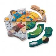 Plantoys dřevěná hračka - Puzzle - Oblékání podle počasí