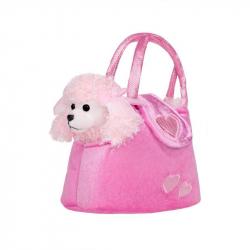 Detská plyšová hračka Playtech Psík v kabelke ružová