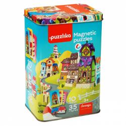 Puzzlika 13470 Magnetické domečky - magnetická hra 35 dílků a 10 předloh