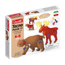 Quercetti Tecno Puzzle 3D - niedźwiedź i łoś