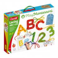 Quercetti Lacing  ABC + 123 alphabets and numbers – provlékací souprava s písankou a omalovánkami