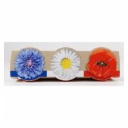 Mini zahrádka - Trio Mini květináče s květy - modrá, bílá, červená