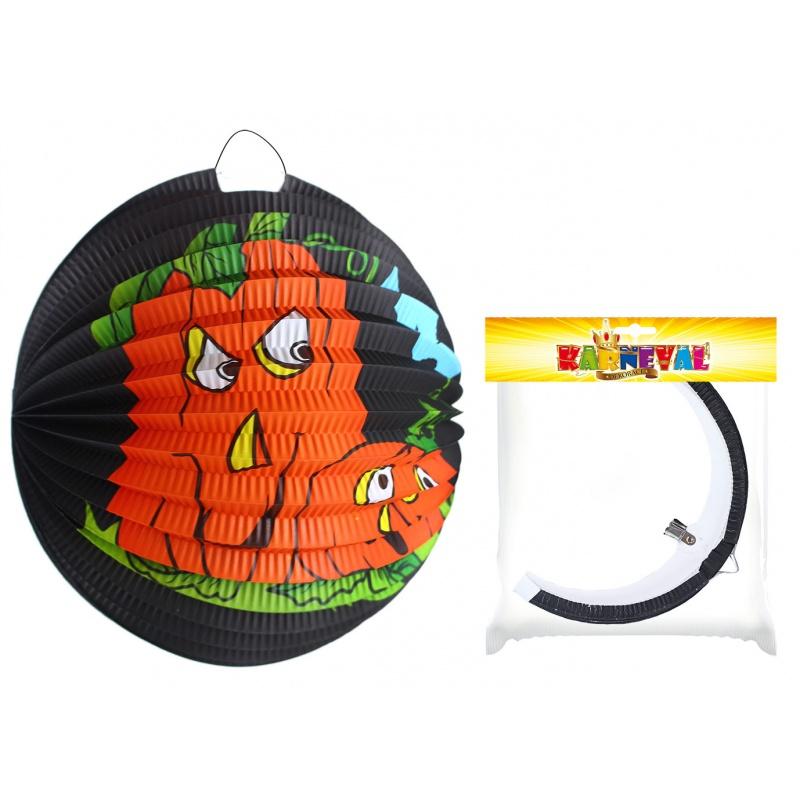 Lampion koule 25cm tmavý s dýní Halloween
