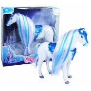 Kôň chodiace, česacia s vlasmi zimné kráľovstvo