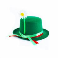 Dětský klobouk vodník zelený se stuhou a květinou