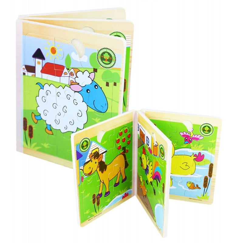 Kniha puzzle dřevěné s motivy domácích zvířátek