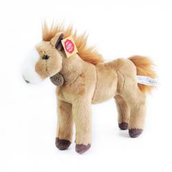 plyšový kůň stojící světle hnědý 30 cm
