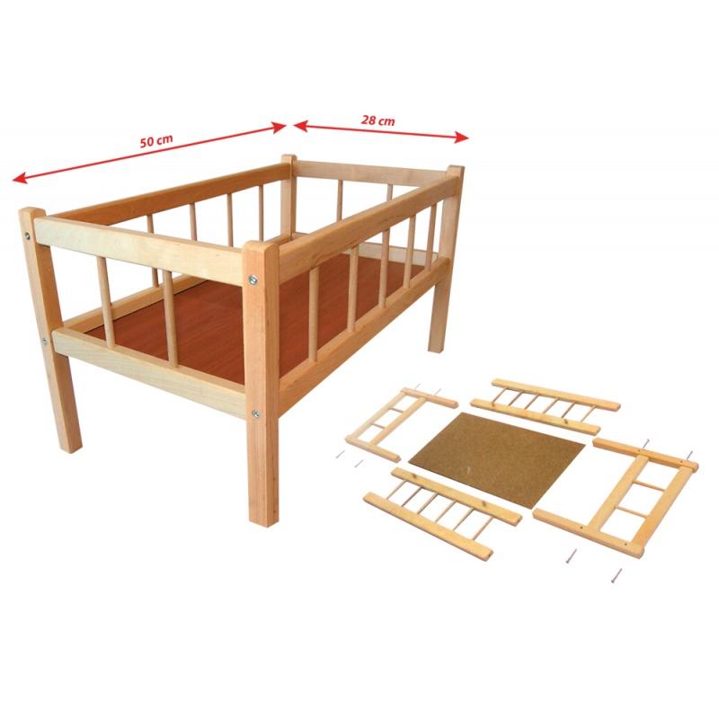 Postýlka dřevěná, 50 x 28 cm