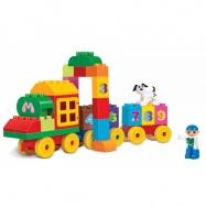 stavebnice bloks kostky vlak s čísly, 63 ks