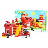 Stavebnice blocks kostky hasiči, velká sada, 63 ks
