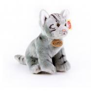 plyšová mačka šedá sediaci, 24 cm