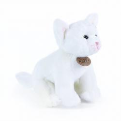 plyšová kočka bílá sedící, 24 cm