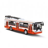 unikátní kovový trolejbus 16 cm červený na zpětný chod v CZ obalu