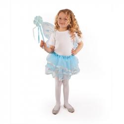 Kostým tutu sukne modrý motýľ s prútikom a krídlami