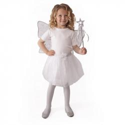 Kostým tutu sukne biely motýľ s krídlami a prútikom