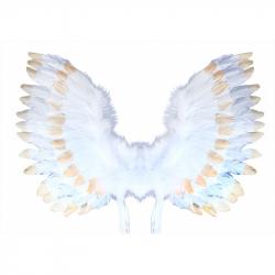 Andělská křídla s peřím, bílo-zlatá