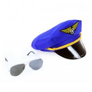 Sada čepice pilot s brýlemi
