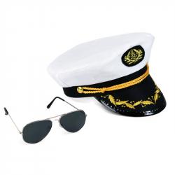 Sada kapitán, čiapka s okuliarmi