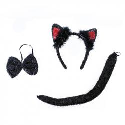 Sada kočka, čelenka, motýlek a ocas