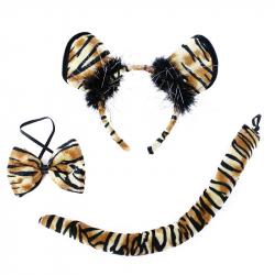 Sada tiger, čelenka, motýlik a chvost